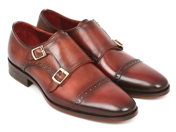 Paul Parkman Men's Cap-Toe Double Monkstraps Camel & Light Brown (ID#0457-CML)
