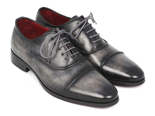Paul Parkman Captoe Oxfords Gray & Black Hand Painted Shoes (ID#077-GRY)