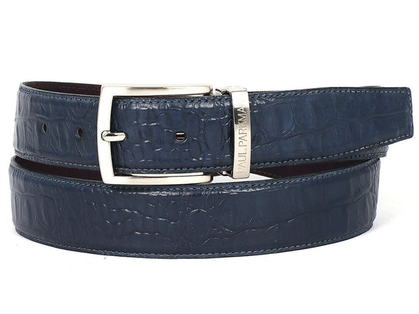 PAUL PARKMAN Men's Crocodile Embossed Calfskin Leather Belt Hand-Painted Navy (ID#B02-NVY)