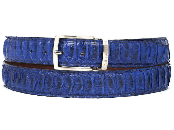PAUL PARKMAN Men's Blue Genuine Python (snakeskin) Belt (ID#B03-BLU)