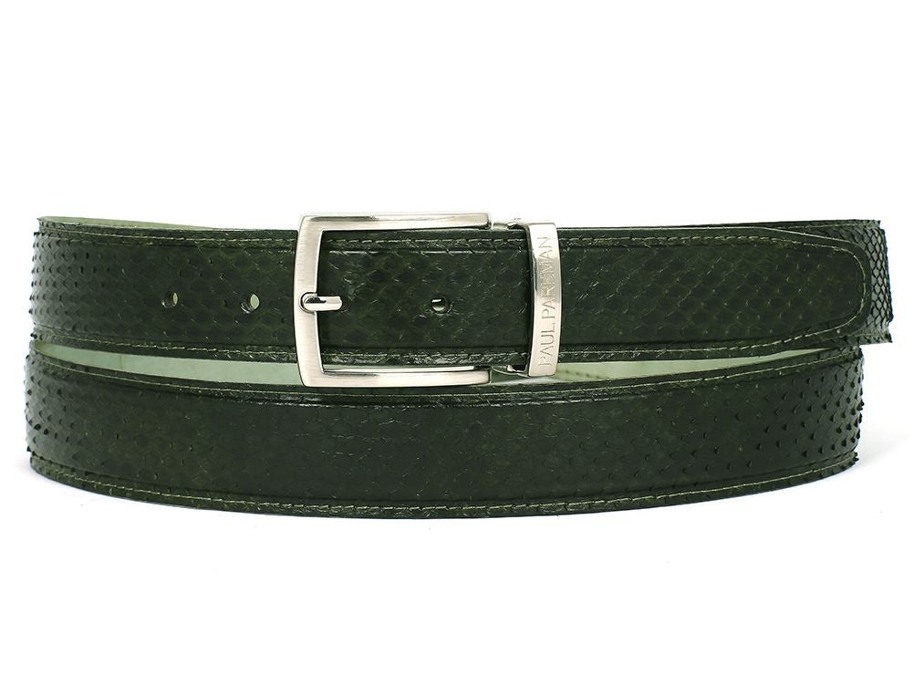 PAUL PARKMAN Men's Green Genuine Python (snakeskin) Belt (ID#B03-GRN)