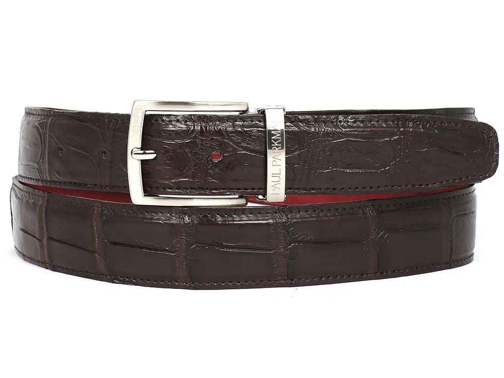 PAUL PARKMAN Men's Brown Genuine Crocodile Belt (ID#B05-BRW)