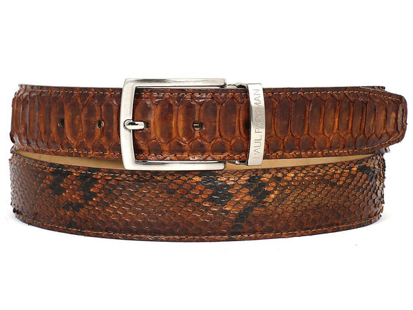 PAUL PARKMAN Men's Camel Brown Genuine Python (snakeskin) Belt (ID#B03-CMLBRW)