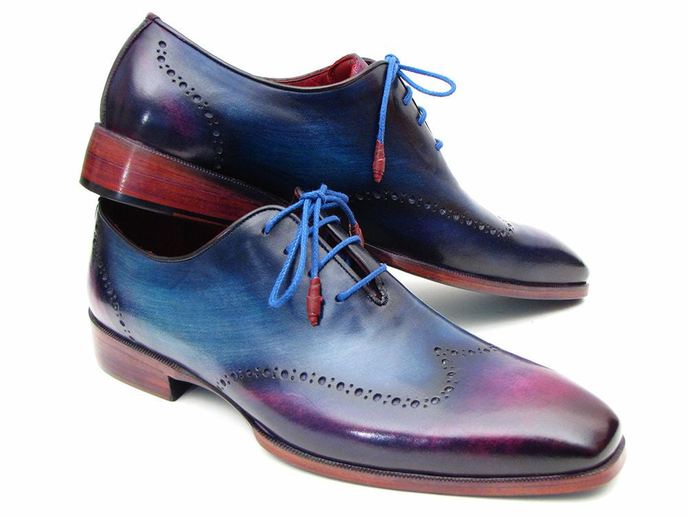 Paul Parkman Blue & Purple Wingtip Oxfords (ID#084VX55)