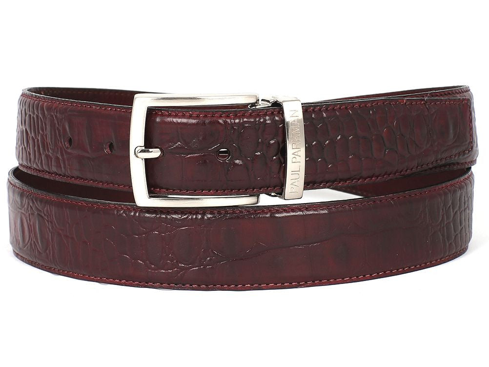 PAUL PARKMAN Men's Croc Embossed Calfskin Belt Dark Bordeaux (ID#B02-DBRD)