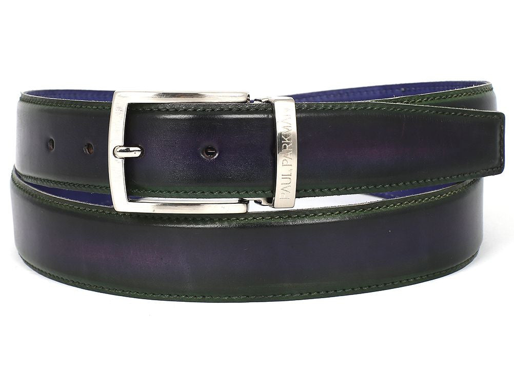 PAUL PARKMAN Men's Leather Belt Dual Tone Green & Purple (ID#B01-GRN-PURP)