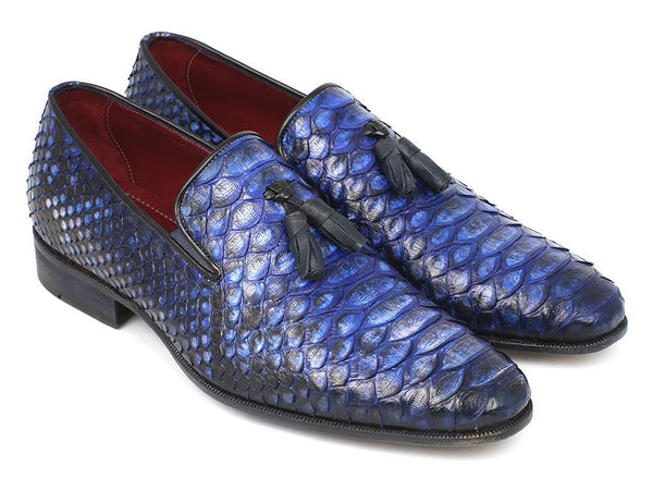 Paul Parkman Men's Blue Genuine Python Tassel Loafers (ID#26BLU98)