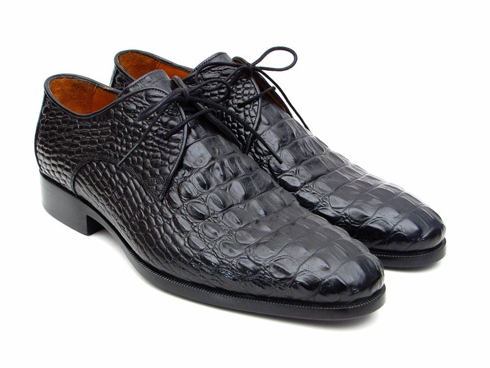 Paul Parkman Men's Black Crocodile Embossed Calfskin Derby Shoes (ID#1438BLK)