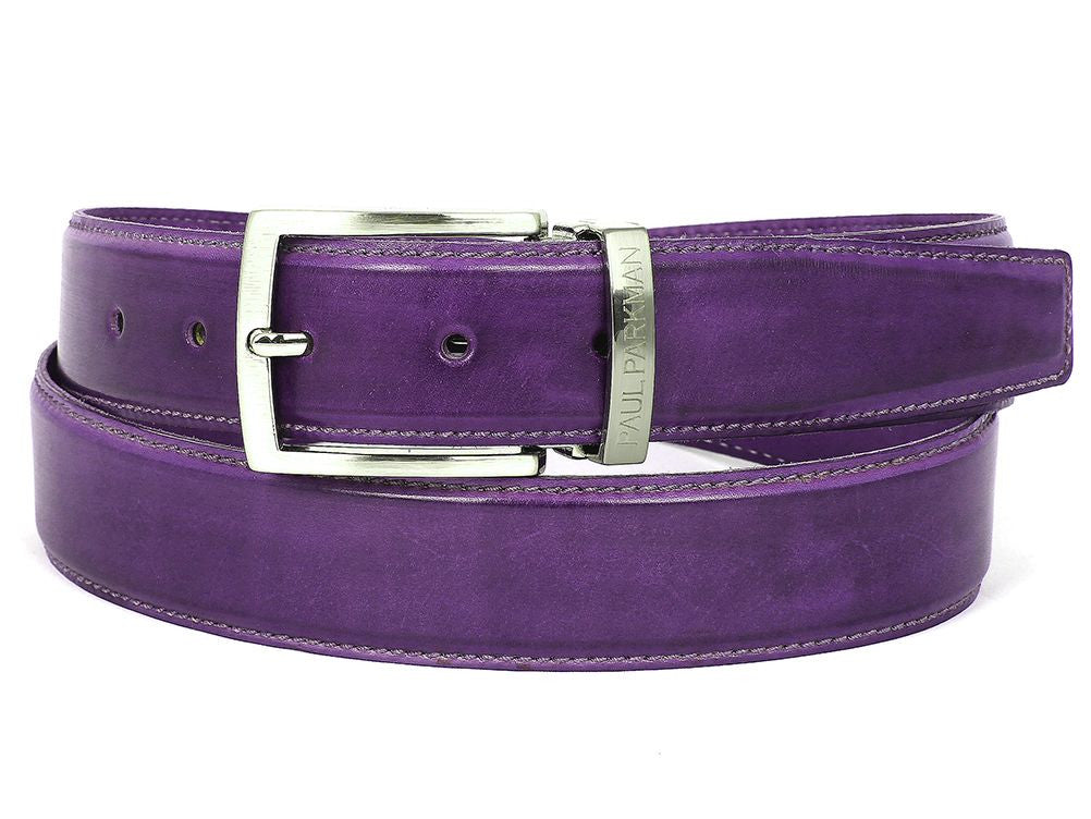 PAUL PARKMAN Men's Leather Belt Hand-Painted Purple (ID#B01-PURP)