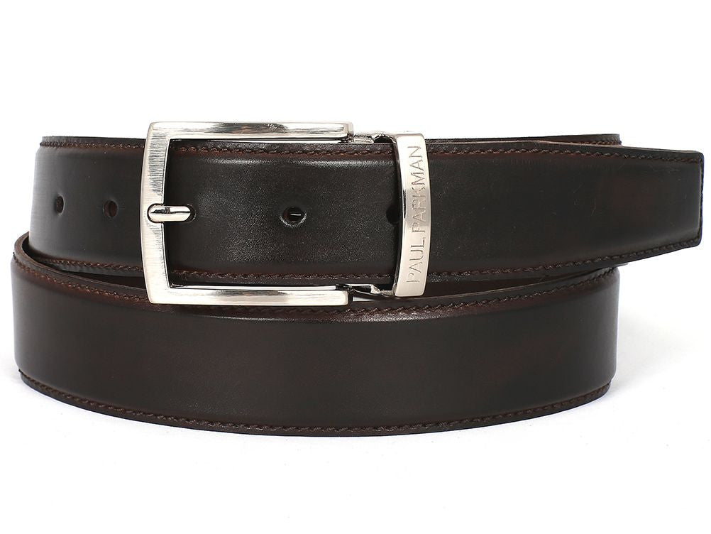 PAUL PARKMAN Men's Leather Belt Hand-Painted Dark Brown (ID#B01-DARK-BRW)