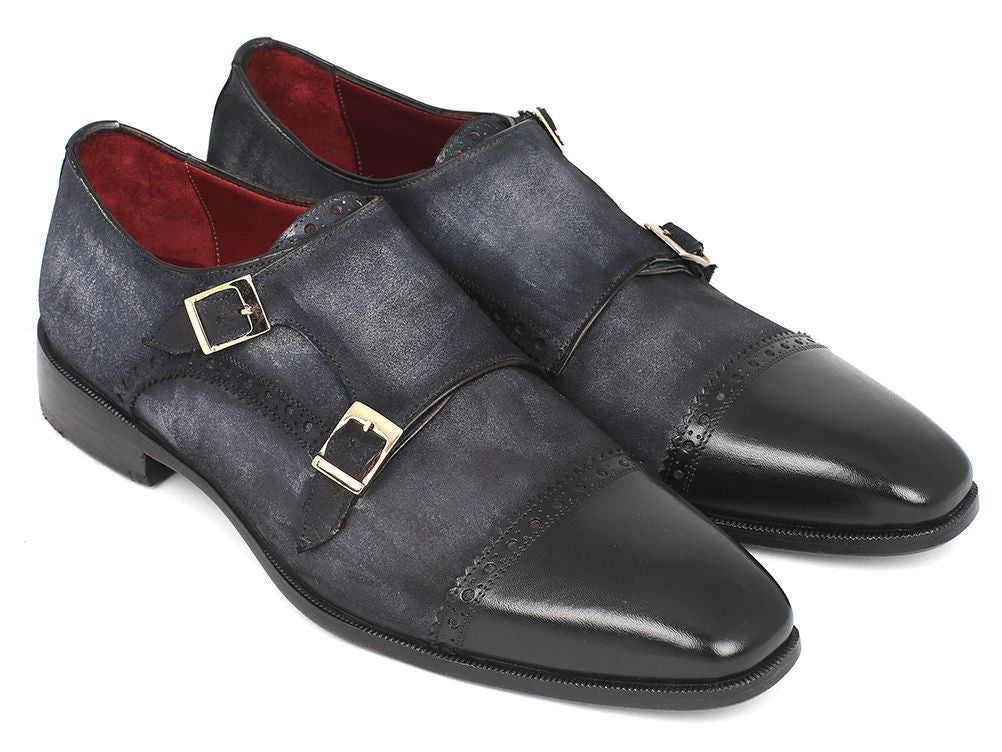 Paul Parkman Men's Captoe Double Monkstraps Navy Suede (ID#FK77W)