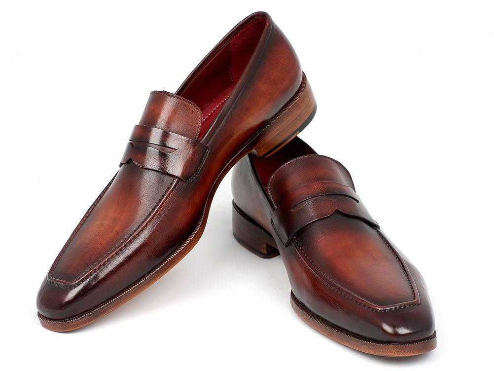 ef43aaa08a75 ... Paul Parkman Men s Penny Loafer Bordeaux and Brown Calfskin (ID 10FD61)  ...
