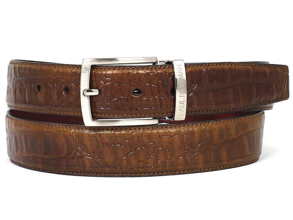 PAUL PARKMAN Men's Crocodile Embossed Calfskin Leather Belt Hand-Painted Olive (ID#B02-OLV)