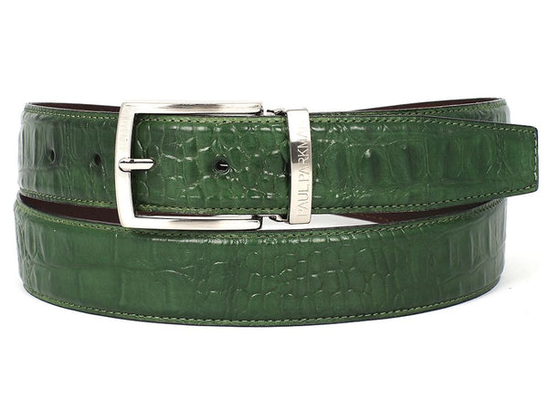 PAUL PARKMAN Men's Crocodile Embossed Calfskin Leather Belt Hand-Painted Green (ID#B02-GRN)