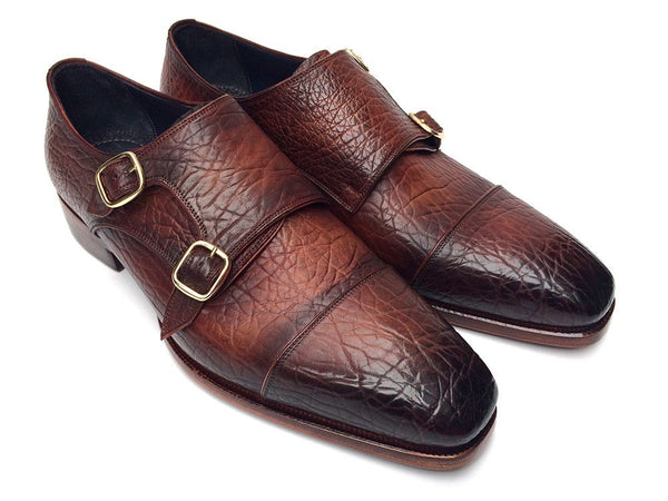 Paul Parkman Men's Double Monkstraps Brown Leather Upper & Leather Sole (ID#BG12-BRW)