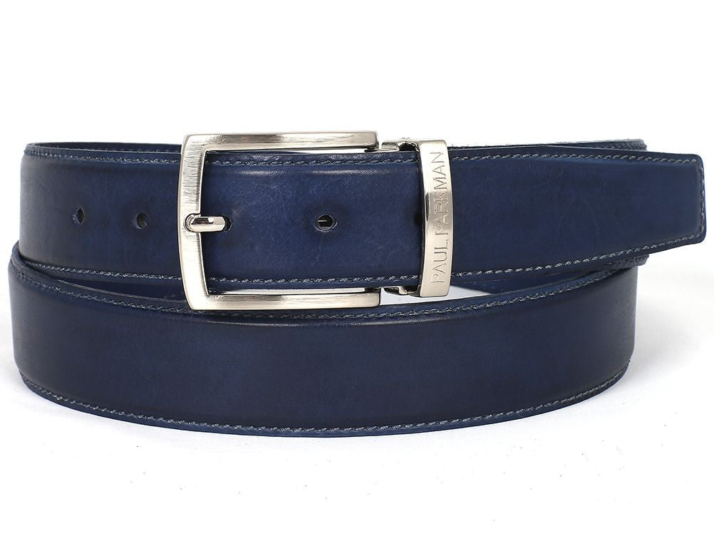 PAUL PARKMAN Men's Leather Belt Hand-Painted Navy (ID#B01-NVY)