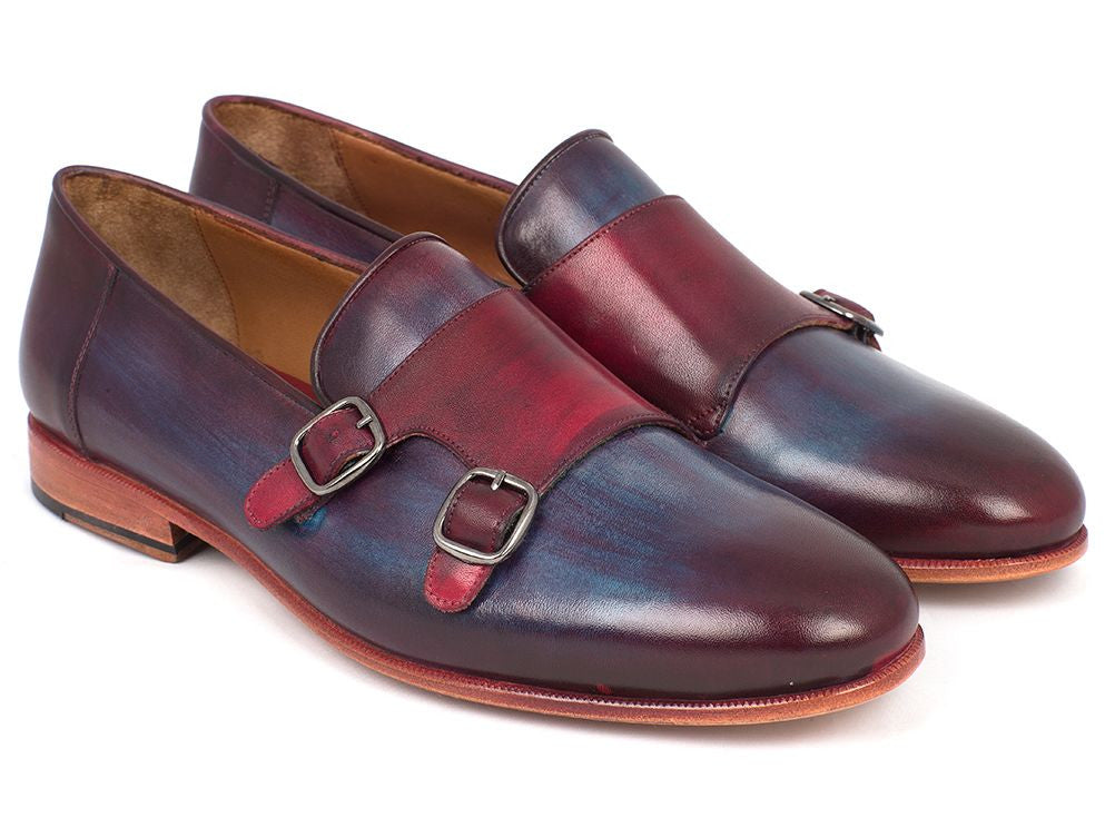 Paul Parkman Men's Bordeaux & Navy Double Monkstrap Shoes (ID#HR65CX)