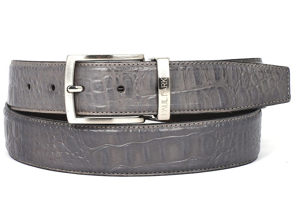 PAUL PARKMAN Men/'s Crocodile Embossed Calfskin Leather Belt Hand Paint Gray
