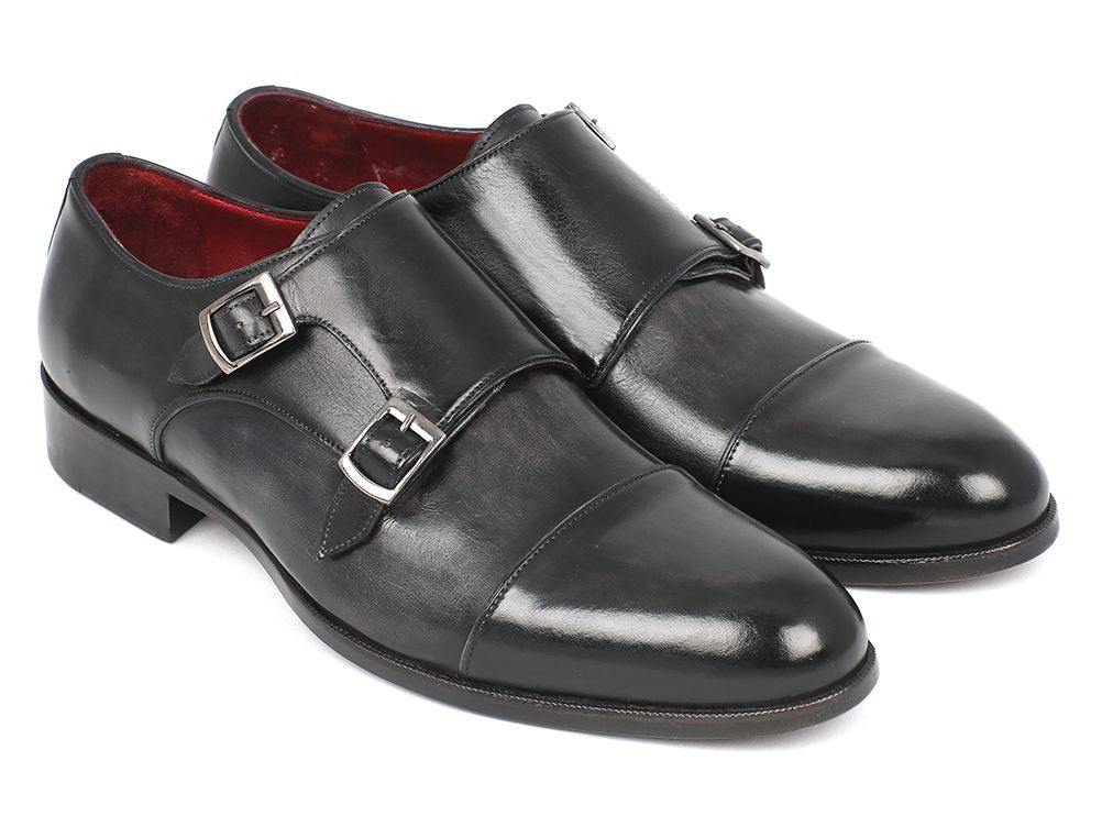 Paul Parkman Men's Cap-Toe Double Monkstraps Gray & Black (ID#0457-GRY)