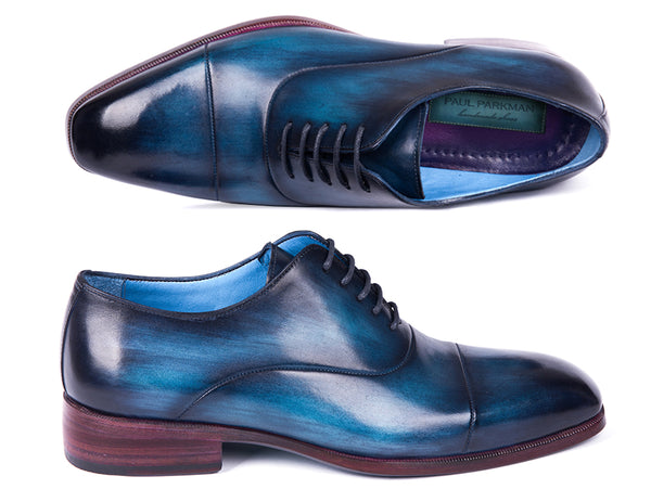 Paul Parkman Men's Captoe Oxfords Blue & Turquoise (ID#1744-BTQ)