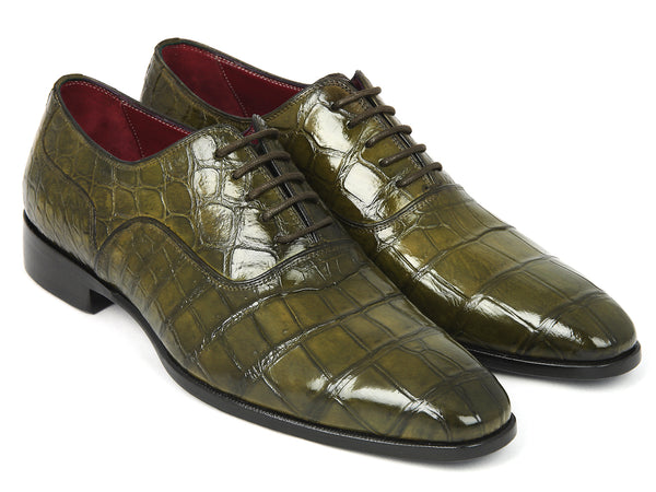 Paul Parkman Green Genuine Crocodile Oxfords (ID#21GRN77)