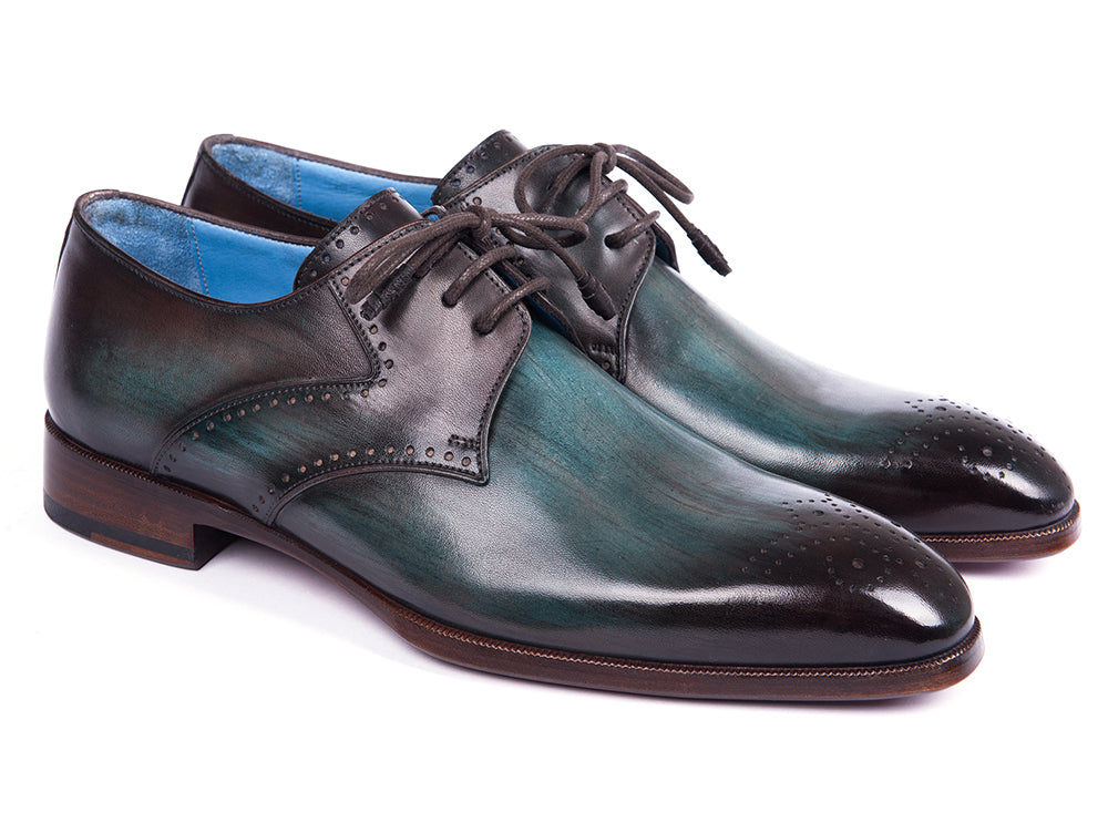 Paul Parkman Turquoise & Brown Medallion Toe Derby Shoes (ID#6584-TRQ)