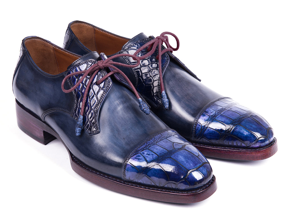 Paul Parkman Blue Genuine Crocodile & Navy Calfskin Captoe Derby Shoes (ID#877-BLU)