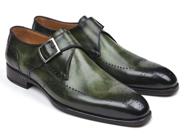 Paul Parkman Wingtip Single Monkstraps Green (ID#98F54-GRN)