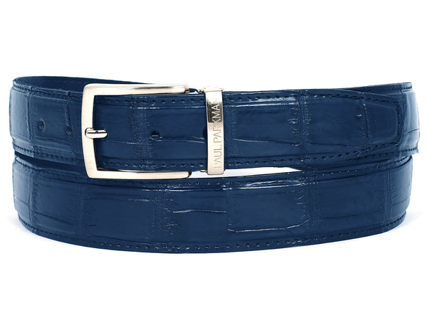 PAUL PARKMAN Men's Blue Genuine Crocodile Belt (ID#B05-BLU)