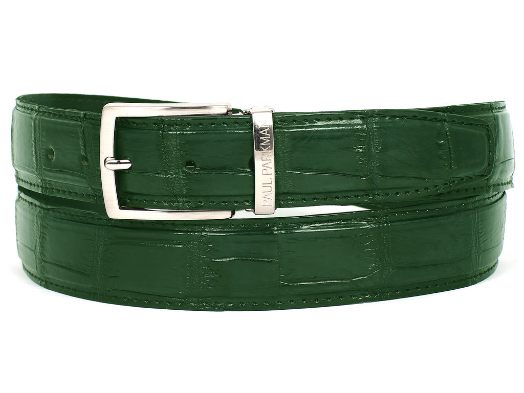 PAUL PARKMAN Men's Green Genuine Crocodile Belt (ID#B05-GRN)