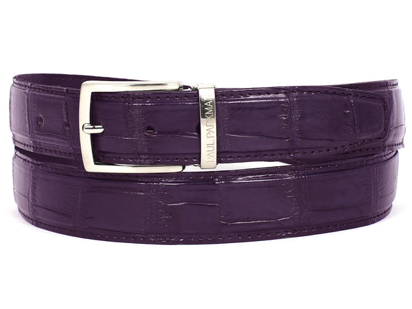 PAUL PARKMAN Men's Purple Genuine Crocodile Belt (ID#B05-PRP)