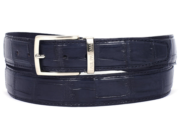 PAUL PARKMAN Men's Navy Genuine Crocodile Belt (ID#B05-NVY)