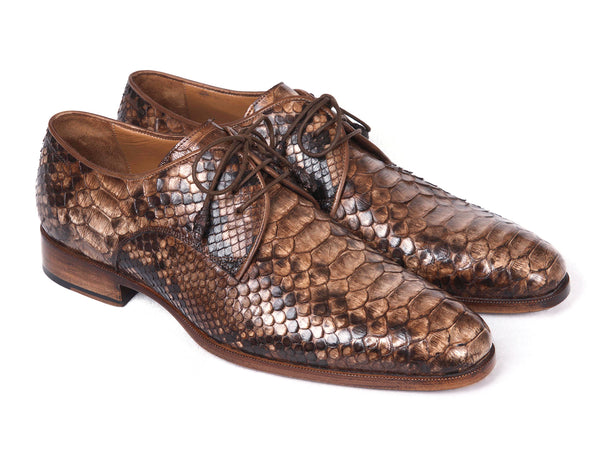 Paul Parkman Brown Genuine Python Derby Shoes (ID#0787BRW)