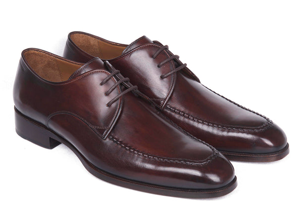 Paul Parkman Brown & Bordeaux Leather Apron Derby Shoes (ID#33BRD92)
