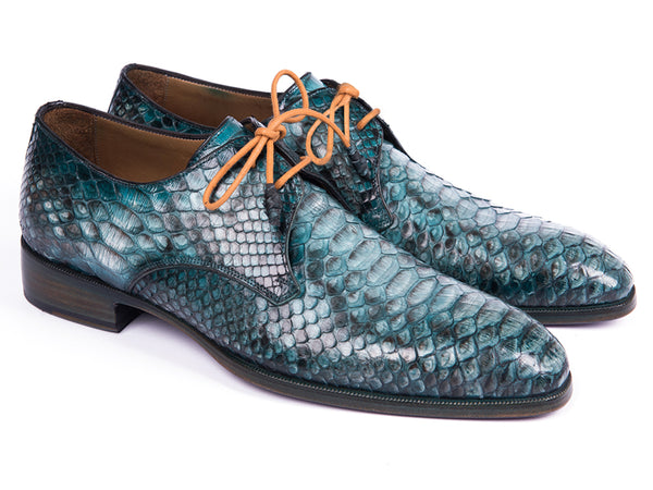 Paul Parkman Turquoise Genuine Python Derby Shoes (ID#0787TRQ)
