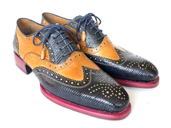 Paul Parkman Genuine Iguana & Leather Wingtip Oxfords (ID#66IG57)