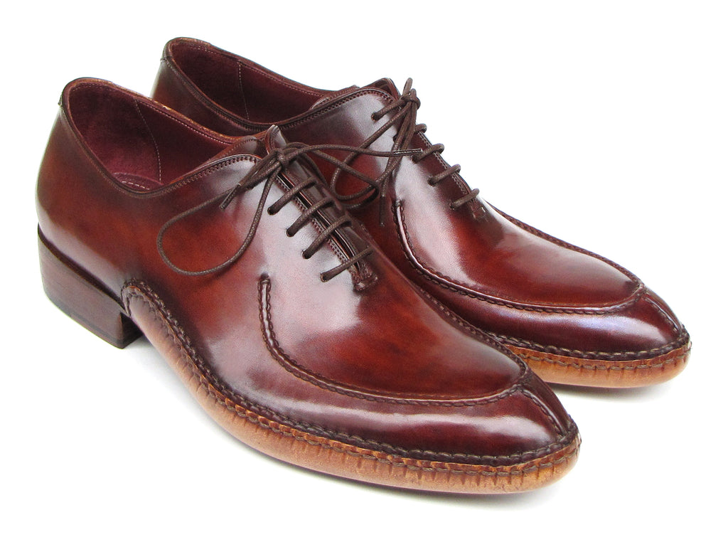Paul Parkman Men's Side Handsewn Split-toe Burgundy Oxfords (ID#054-BUR)