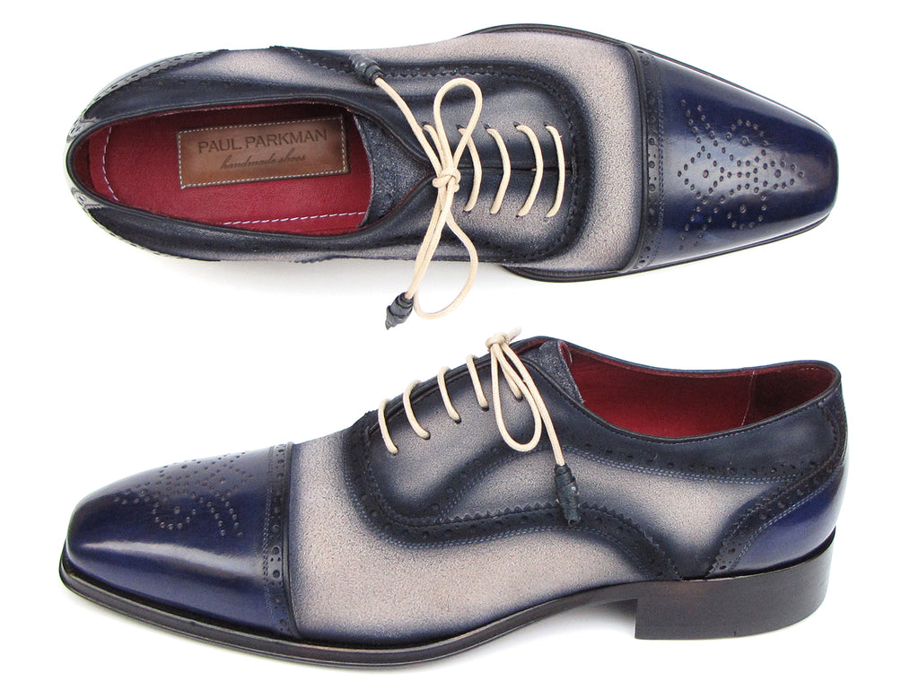 Paul Parkman Captoe Oxfords Navy, Beige (ID#024-BLS)