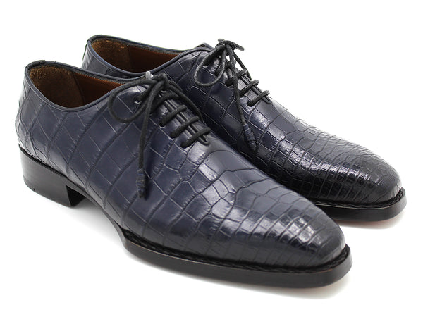 Paul Parkman Navy Genuine Crocodile Oxford Shoes for Men (ID#LX765-NVY)