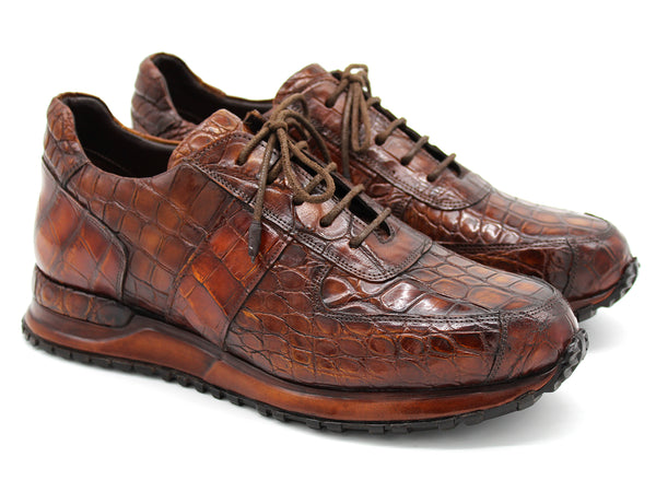 Paul Parkman Men's Brown Genuine Crocodile Sneakers (ID#LP807BRW)