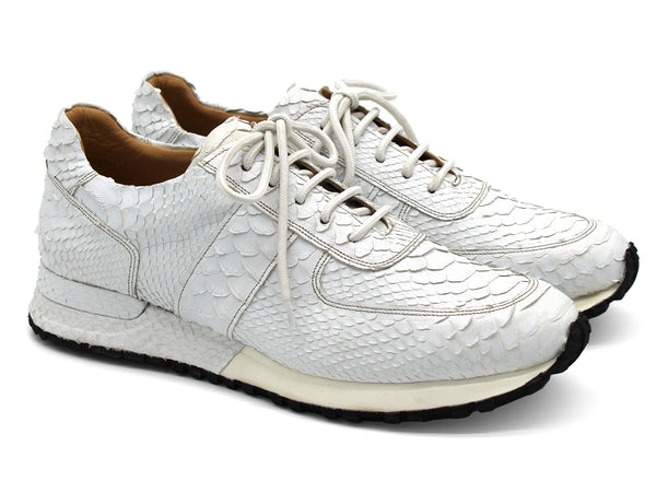 Paul Parkman Men's White Genuine Snakeskin Sneakers (ID#LP308WHT)