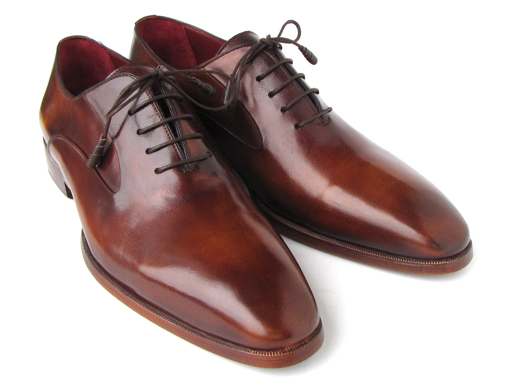 Paul Parkman Plain Toe Brown Calfskin Oxfords (ID#019-BRW)
