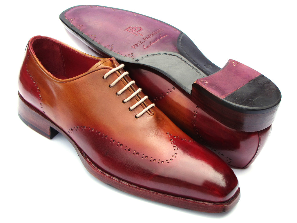 Paul Parkman Goodyear Welted Wingtip Oxfords Bordeaux & Camel (ID#081-RDT)