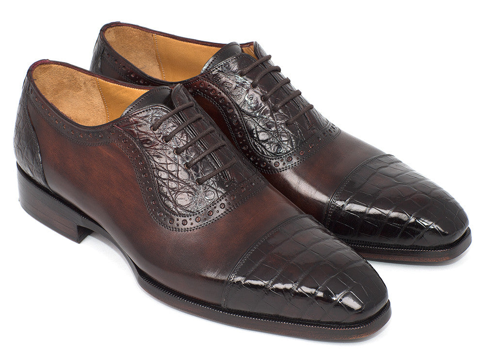 Paul Parkman Men's Brown Genuine Crocodile & Calfskin Oxfords (ID#CR244BRW)