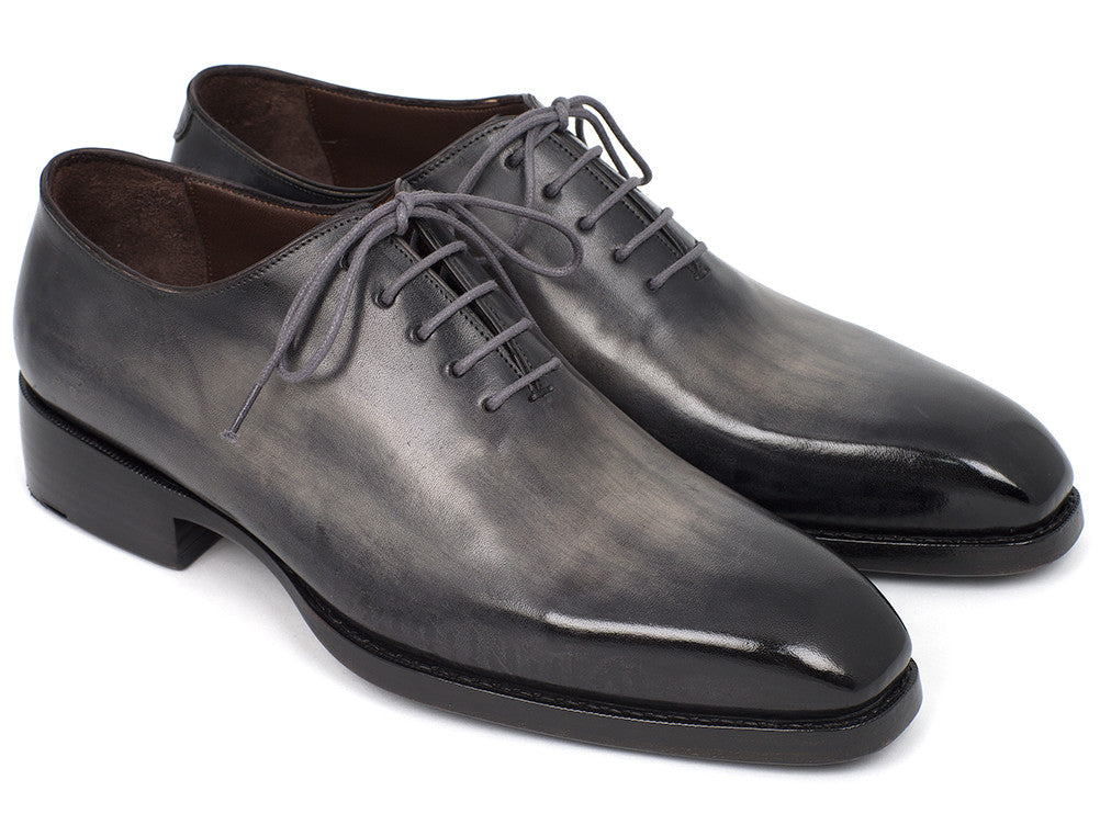 Paul Parkman Goodyear Welted Wholecut Oxfords Gray Black Hand-Painted (ID#044GRY)