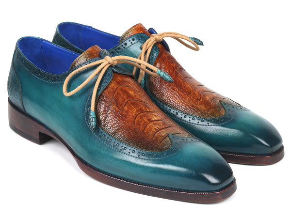 Paul Parkman Genuine Ostrich Leg & Calfskin Derby Shoes (ID#788GY74)