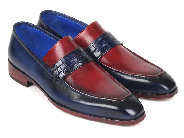 Paul Parkman Blue Crocodile & Bordeaux Calfskin Loafers (ID#101BR55)