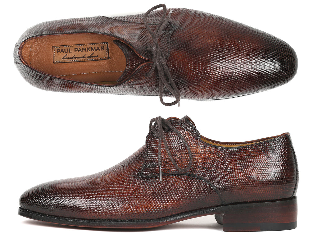 Paul Parkman Genuine Iguana Derby Shoes Brown (ID#628BW93)