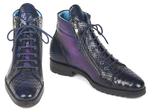 Paul Parkman Genuine Python & Calfskin Side Zipper Boots Navy Purple (ID#543JK65)
