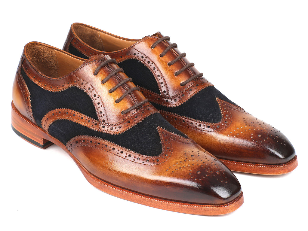 Paul Parkman Brown Leather & Navy Suede Oxfords (ID#228NV65)